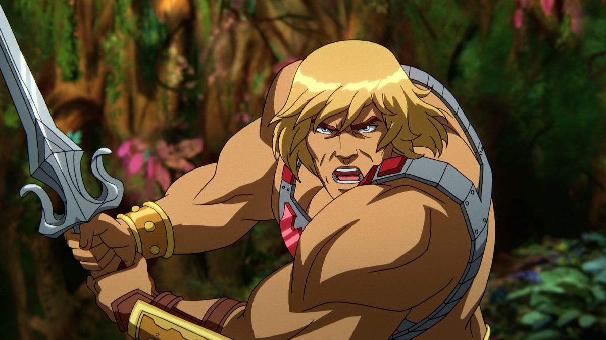 In a CG animated still from Masters of the Universe: Revelation, He-Man wears a silver chest plate with a red